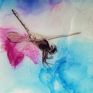Epoxy resin, alcohol ink on canvas